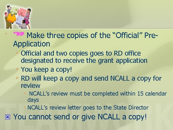 """§ Make three copies of the """"Official"""" Pre. Application § Official and two copies"""