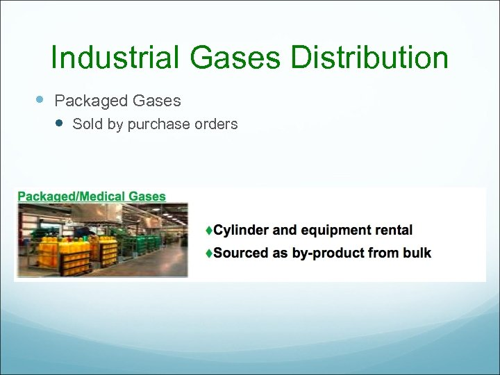 Industrial Gases Distribution Packaged Gases Sold by purchase orders