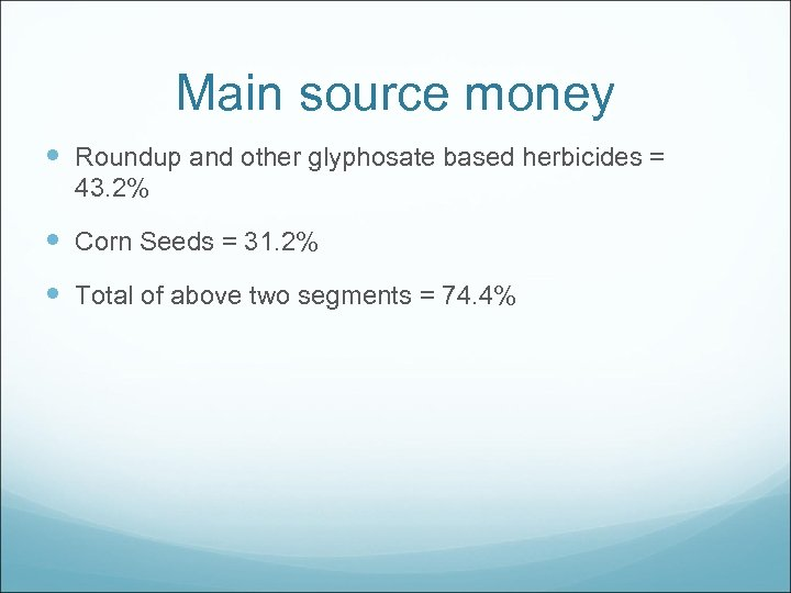 Main source money Roundup and other glyphosate based herbicides = 43. 2% Corn Seeds