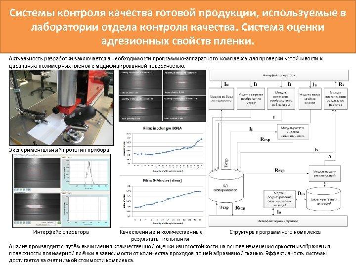 Системы контроля качества готовой продукции, используемые в лаборатории отдела контроля качества. Система оценки адгезионных
