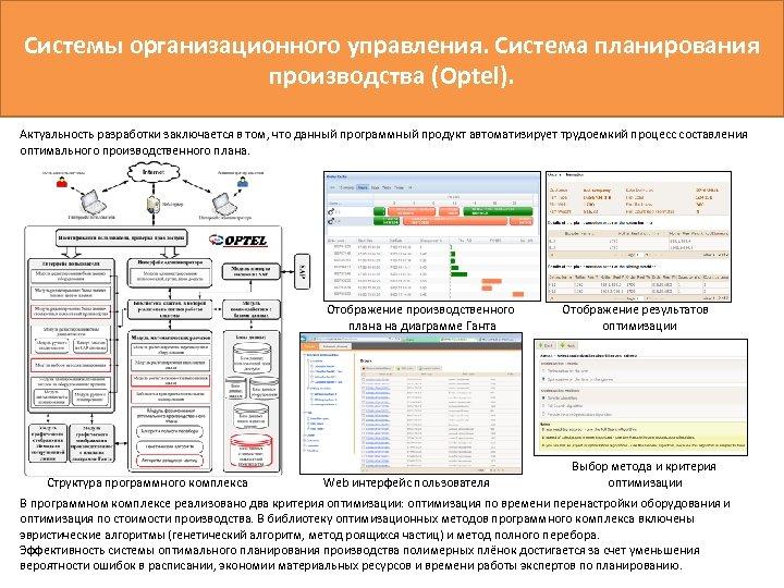 Системы организационного управления. Система планирования производства (Optel). Актуальность разработки заключается в том, что данный