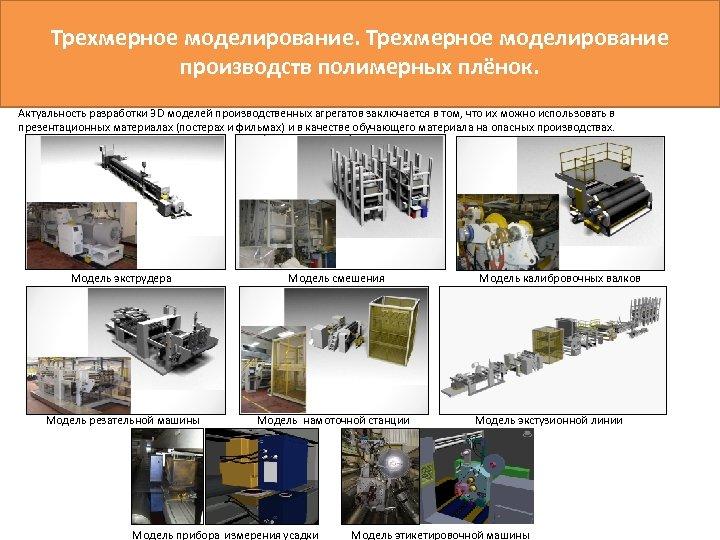 Трехмерное моделирование производств полимерных плёнок. Актуальность разработки 3 D моделей производственных агрегатов заключается в