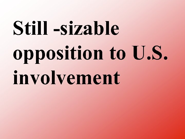 Still sizable opposition to U. S. involvement