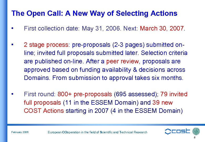 The Open Call: A New Way of Selecting Actions • First collection date: May