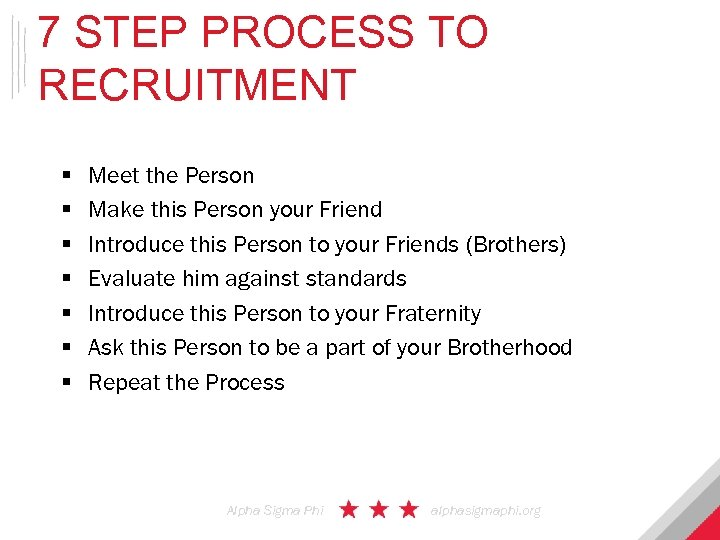 7 STEP PROCESS TO RECRUITMENT § § § § Meet the Person Make this