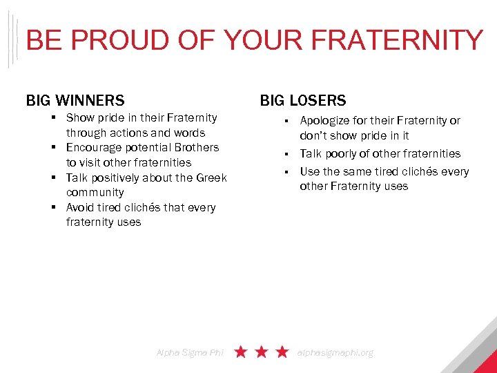 BE PROUD OF YOUR FRATERNITY BIG LOSERS BIG WINNERS § Show pride in their