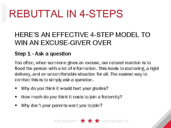 REBUTTAL IN 4 -STEPS HERE'S AN EFFECTIVE 4 -STEP MODEL TO WIN AN EXCUSE-GIVER