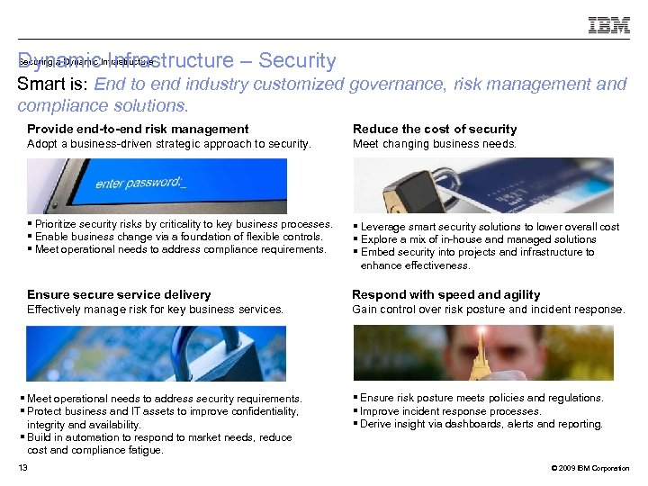 Securing a Dynamic Infrastructure – Security Dynamic. Infrastructure Smart is: End to end industry