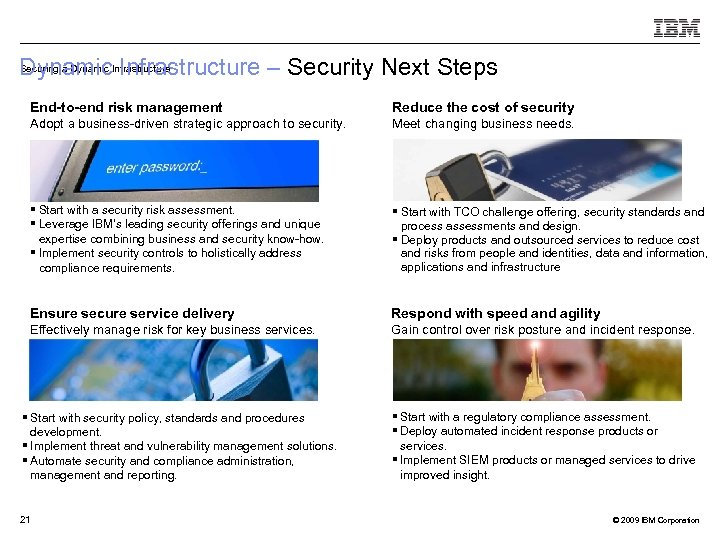 Securing a Dynamic Infrastructure – Security Next Steps Dynamic. Infrastructure End-to-end risk management Reduce