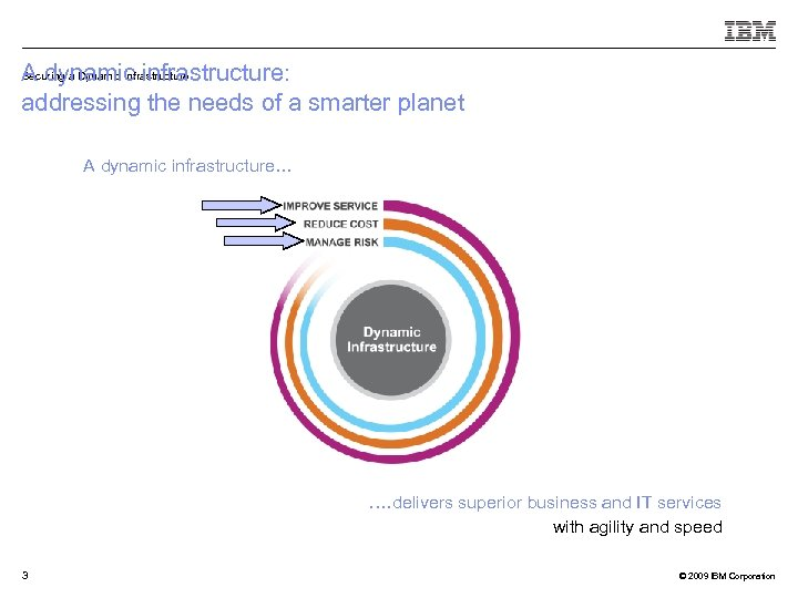 Securing a Dynamic Infrastructure A dynamic infrastructure: addressing the needs of a smarter planet