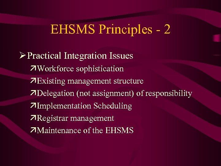 EHSMS Principles - 2 Ø Practical Integration Issues äWorkforce sophistication äExisting management structure äDelegation