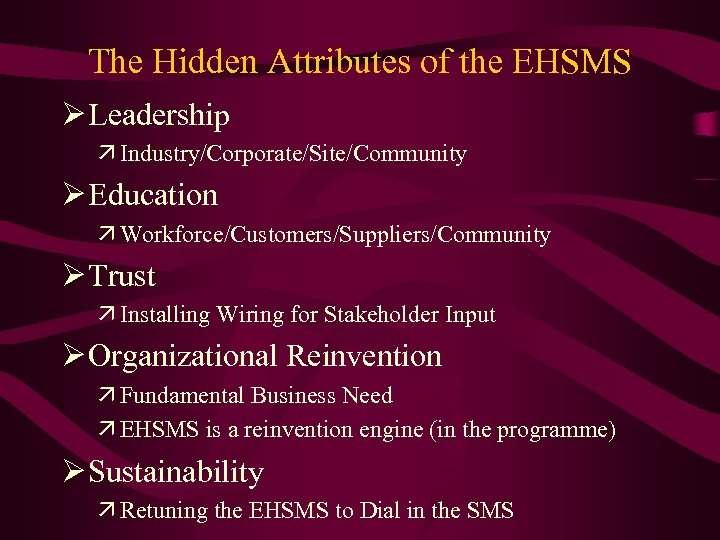 The Hidden Attributes of the EHSMS Ø Leadership ä Industry/Corporate/Site/Community Ø Education ä Workforce/Customers/Suppliers/Community