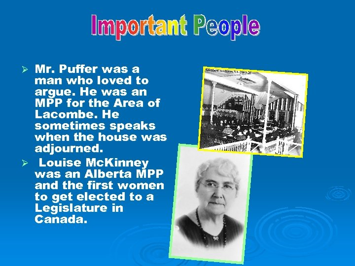 Mr. Puffer was a man who loved to argue. He was an MPP for