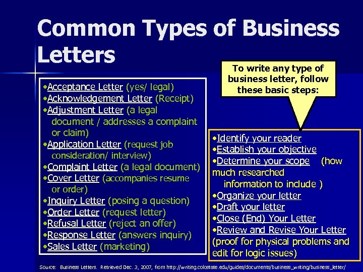 Common Types of Business Letters To write any type of • Acceptance Letter (yes/