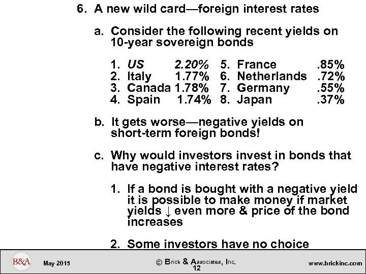 6. A new wild card—foreign interest rates a. Consider the following recent yields on