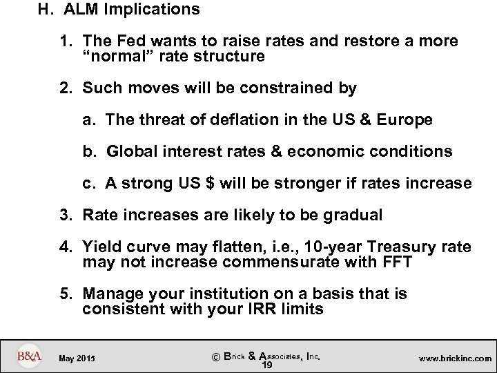H. ALM Implications 1. The Fed wants to raise rates and restore a more