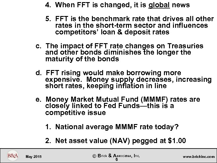 4. When FFT is changed, it is global news 5. FFT is the benchmark