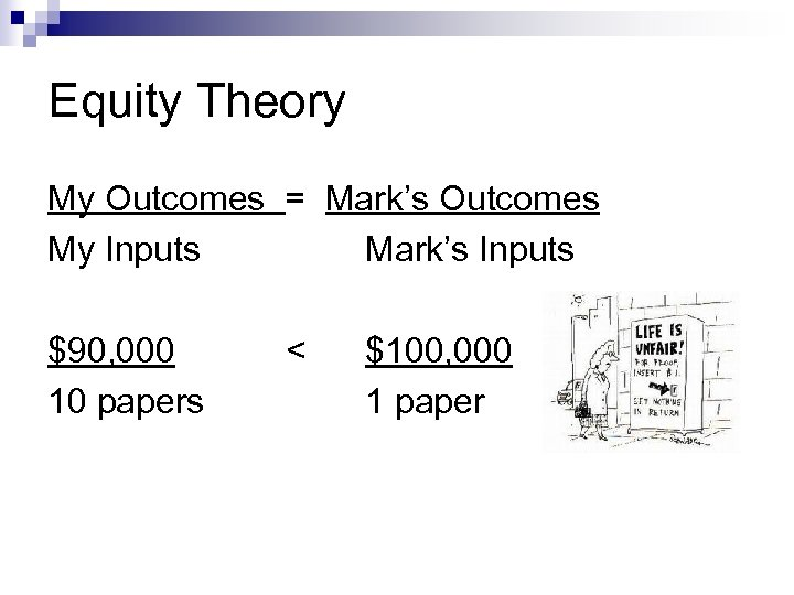 Equity Theory My Outcomes = Mark's Outcomes My Inputs Mark's Inputs $90, 000 10