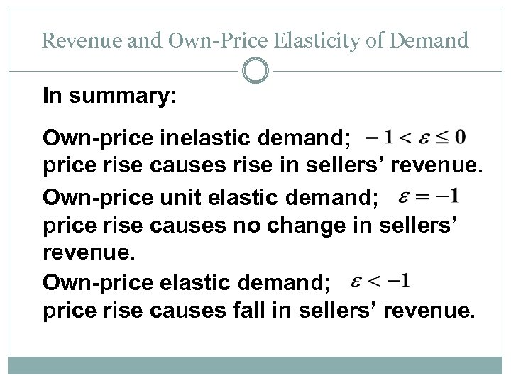 Revenue and Own-Price Elasticity of Demand In summary: Own-price inelastic demand; price rise causes