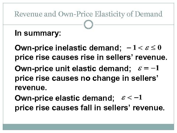 Market Demand Consumer Surplus Own Price Elasticity