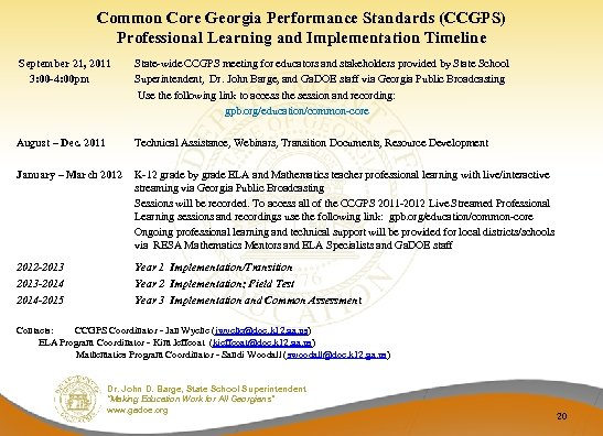 Common Core Georgia Performance Standards (CCGPS) Professional Learning and Implementation Timeline September 21, 2011