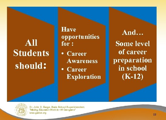 All Students should: Have opportunities for : • Career Awareness • Career Exploration Dr.