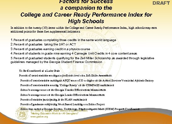 Factors for Success DRAFT a companion to the College and Career Ready Performance Index