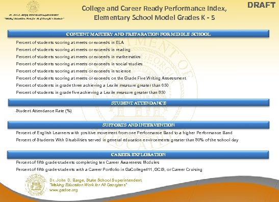 College and Career Ready Performance Index, Elementary School Model Grades K - 5 Dr.