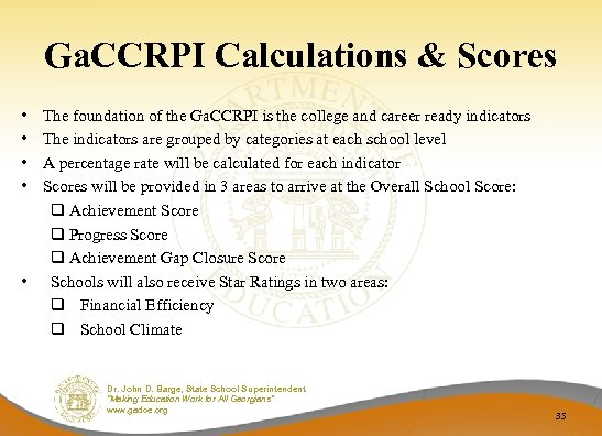 Ga. CCRPI Calculations & Scores • • The foundation of the Ga. CCRPI is