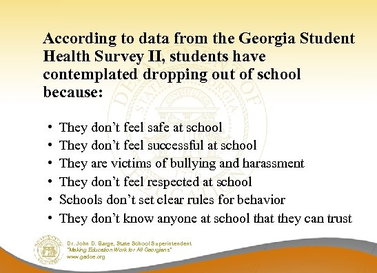 According to data from the Georgia Student Health Survey II, students have contemplated dropping