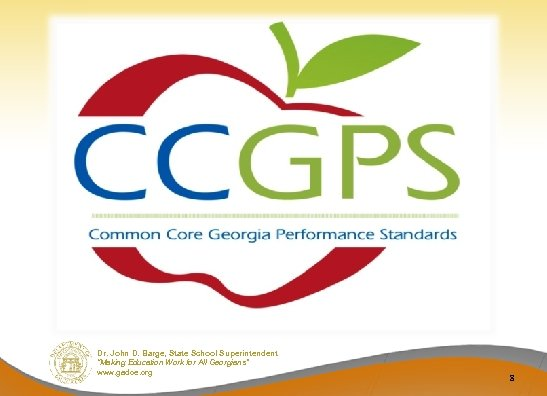 """Dr. John D. Barge, State School Superintendent """"Making Education Work for All Georgians"""" www."""