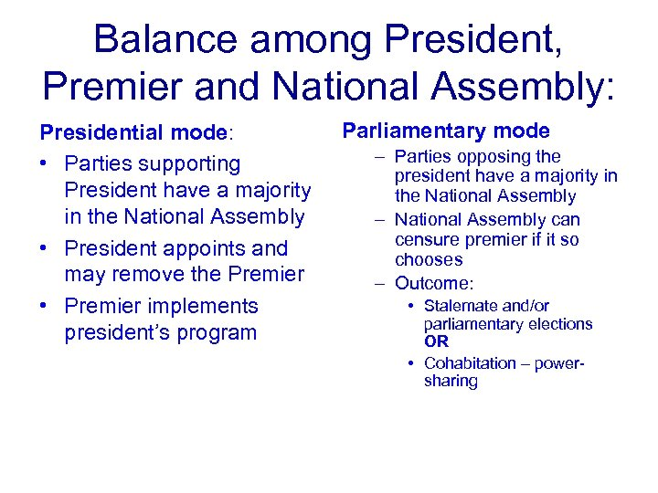 Balance among President, Premier and National Assembly: Presidential mode: • Parties supporting President have