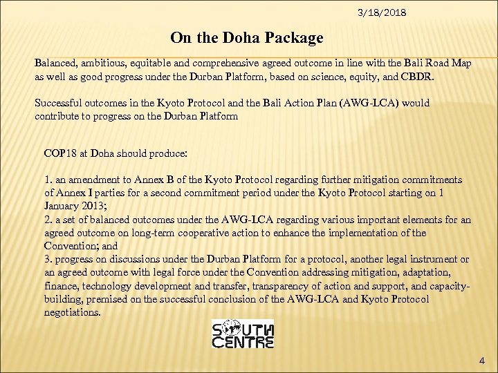 3/18/2018 On the Doha Package Balanced, ambitious, equitable and comprehensive agreed outcome in line