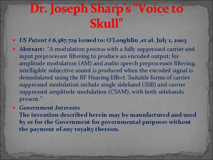 Dr. Joseph Sharp's