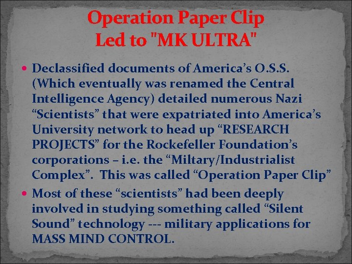 Operation Paper Clip Led to