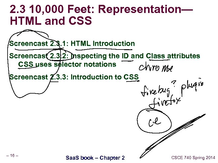 2. 3 10, 000 Feet: Representation— HTML and CSS Screencast 2. 3. 1: HTML