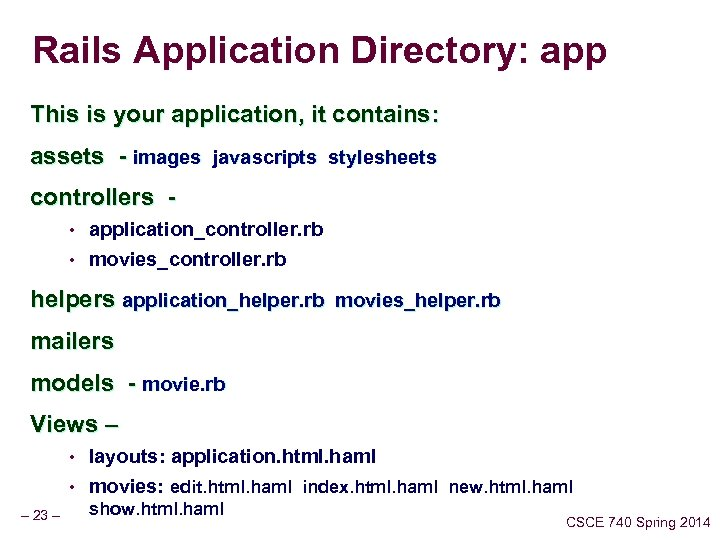 Rails Application Directory: app This is your application, it contains: assets - images javascripts