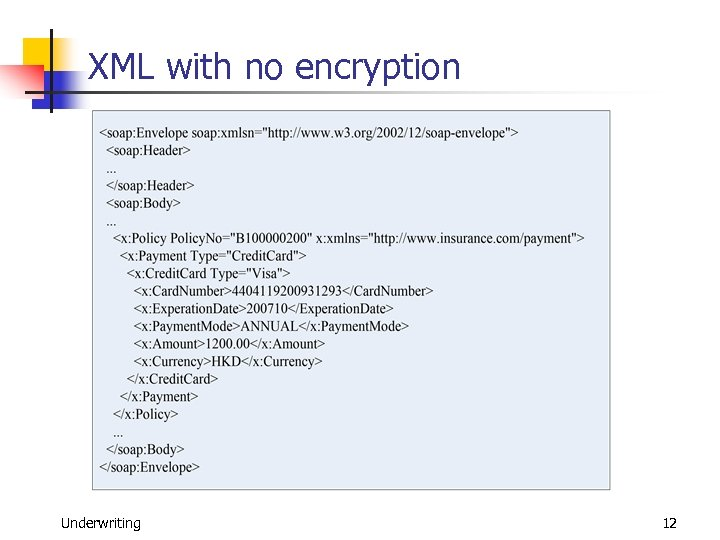 XML with no encryption Underwriting 12