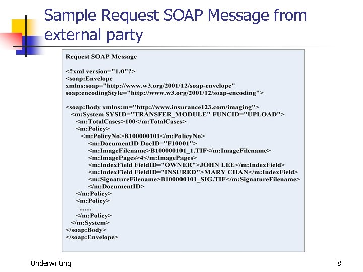 Sample Request SOAP Message from external party Underwriting 8