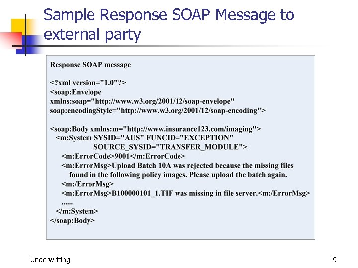 Sample Response SOAP Message to external party Underwriting 9