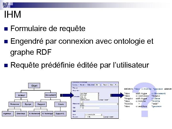 IHM n Formulaire de requête n Engendré par connexion avec ontologie et graphe RDF