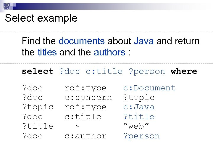 Select example Find the documents about Java and return the titles and the authors