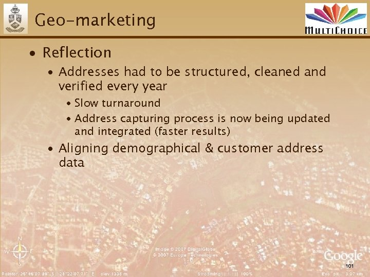 Geo-marketing ∙ Reflection ∙ Addresses had to be structured, cleaned and verified every year