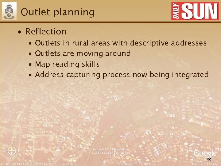 Outlet planning ∙ Reflection ∙ ∙ Outlets in rural areas with descriptive addresses Outlets