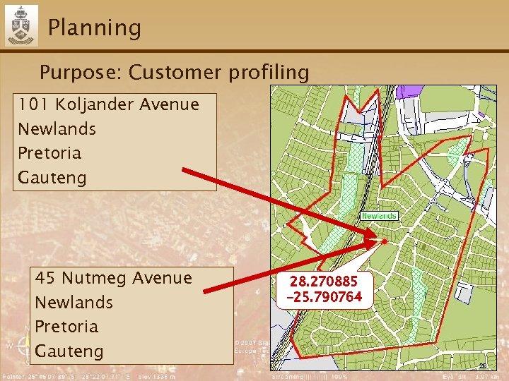 Planning Purpose: Customer profiling 101 Koljander Avenue Newlands Pretoria Gauteng 45 Nutmeg Avenue Newlands