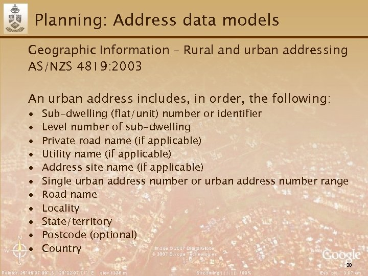 Planning: Address data models Geographic Information – Rural and urban addressing AS/NZS 4819: 2003