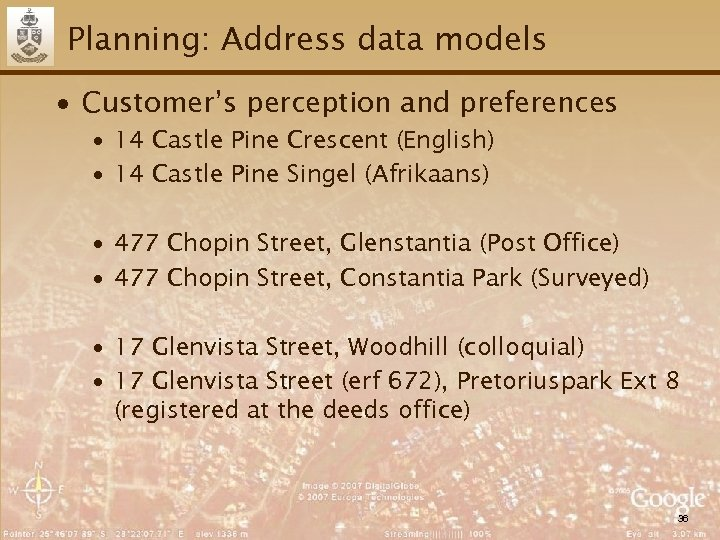 Planning: Address data models ∙ Customer's perception and preferences ∙ 14 Castle Pine Crescent