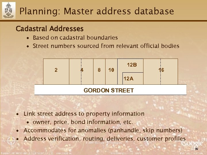 Planning: Master address database Cadastral Addresses ∙ Based on cadastral boundaries ∙ Street numbers