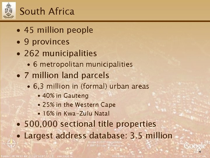 South Africa ∙ 45 million people ∙ 9 provinces ∙ 262 municipalities ∙ 6