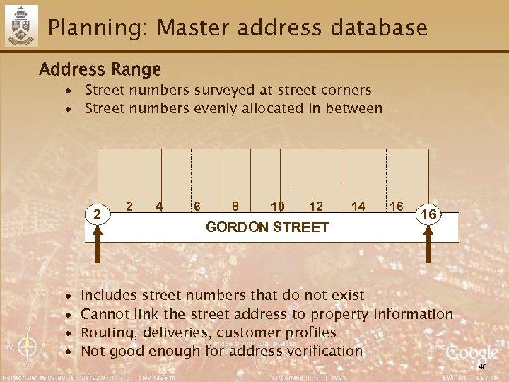Planning: Master address database Address Range ∙ Street numbers surveyed at street corners ∙